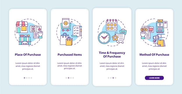 Customer behavior patterns onboarding mobile app page screen with concepts