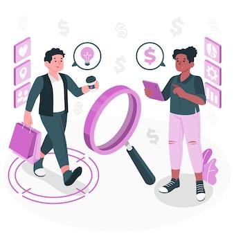Illustrazione del concetto di comportamento del cliente