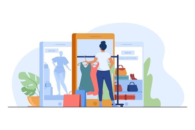 인터넷 상점에서 천을 구매하는 고객. 온라인 쇼핑 평면 벡터 일러스트 레이 션에 대 한 가제트를 사용하는 여성. 전자 상거래, 판매, 소매 개념