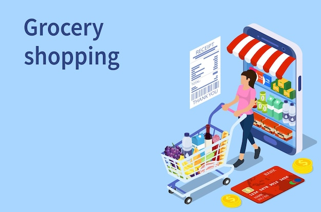 Customer buying in online grocery store
