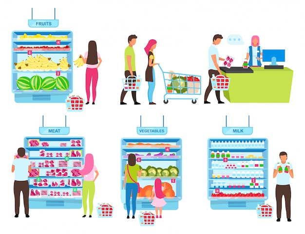 顧客購入プロセスフラットイラストセット。食料品店で商品を選択し、現金デスクの漫画のキャラクターで商品を購入する人々。