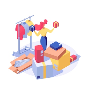 Customer buying products isometric