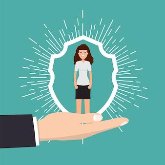 고객 관리, 유지 또는 충성도 개념. 손에서 사업가 클라이언트를 보유하고있다.