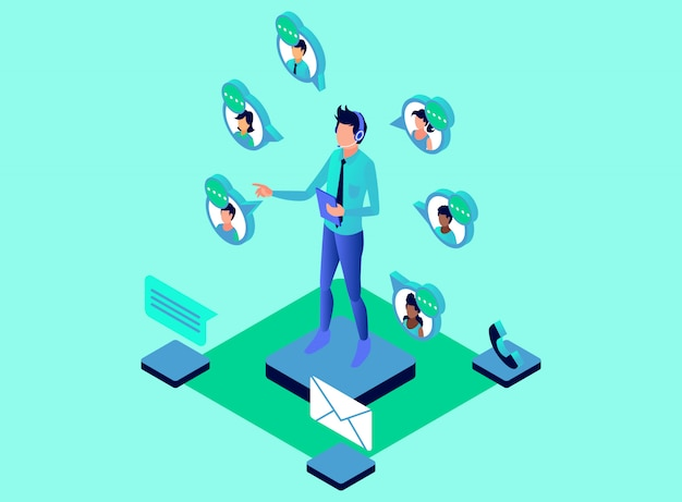 Customer care serving customers with telephone and multiple media using headphone - isometric illustration