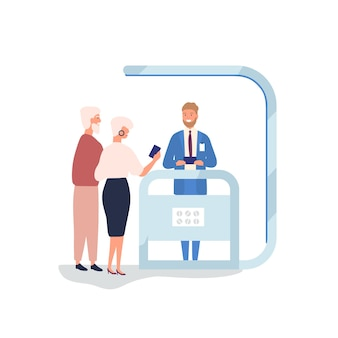 Customer choosing gadgets at promotional stall flat vector illustration. salesman, promoter advertising electronics. couple at exhibition stand and sales manager cartoon characters isolated on white.