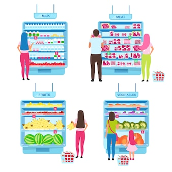 Customer choosing products flat illustrations set. buyers making choice in grocery store, standing near supermarket shelves with goods cartoon characters. shopping at farmers market