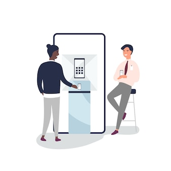 Customer choosing smartphone at electronic store flat vector illustration. sales manager, consultant advertising gadgets. salesman consulting client near promotional stand cartoon characters.