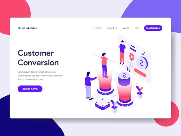 Customer conversion illustration for web pages