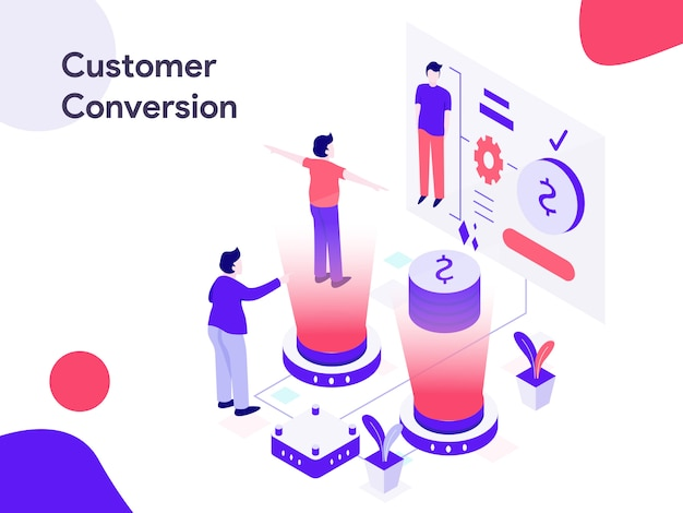 Customer conversion isometric illustration