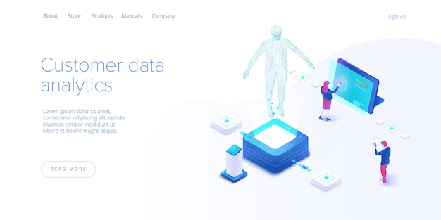 Customer data monitoring concept in isometric vector design. online internet marketing or business analysis tools. user engagement metrics or measure technology. web banner layout template.