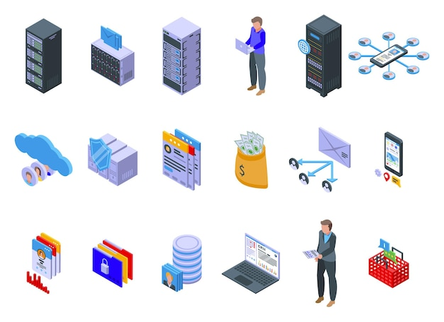 Customer database  set. isometric set of customer database   for web design isolated on white background Premium Vector