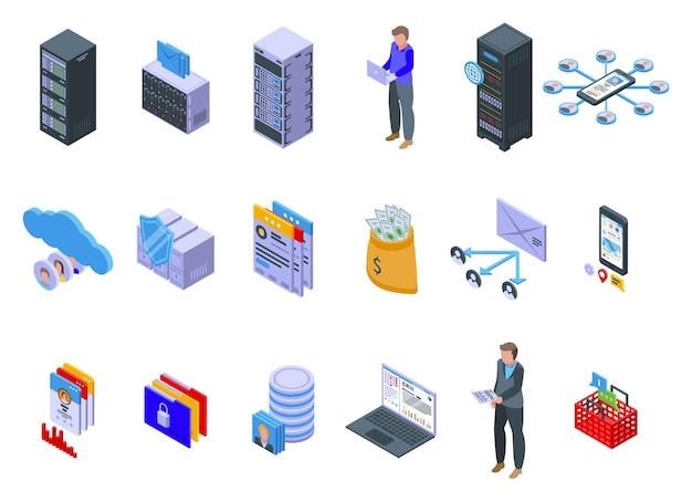 고객 데이터베이스 세트. 흰색 배경에 고립 된 웹 디자인을위한 고객 데이터베이스의 아이소 메트릭 세트