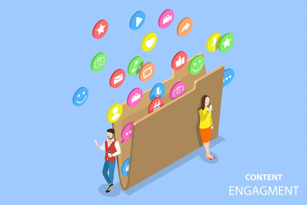 Customer engagement strategy isometric flat illustration.