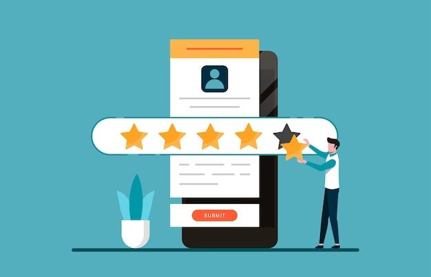 顧客体験と満足の概念。フィードバックのイラストのために5つ星を与える男。