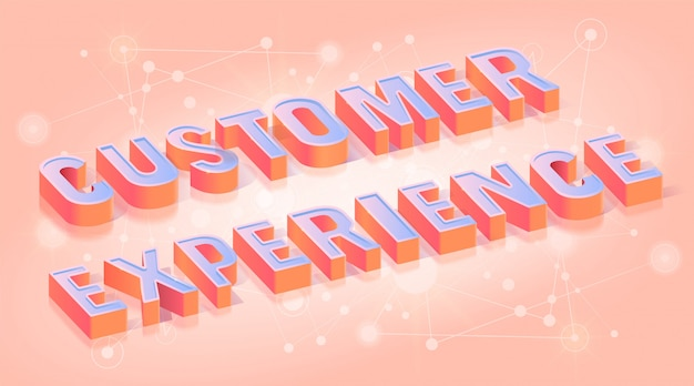 Customer experience text isometric