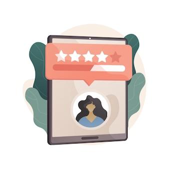 Illustrazione astratta di feedback dei clienti in stile piano