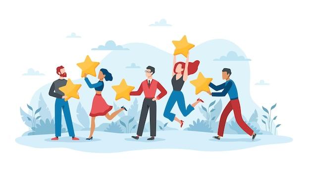 製品、サービスを評価する顧客からのフィードバックと 5 つ星評価のユーザー エクスペリエンス。ビジネス満足度は、星のベクトルレート品質コンセプトを持つ人々をサポートします