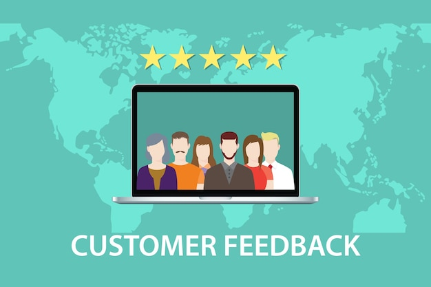 Customer feedback concept with star rating and laptop vector