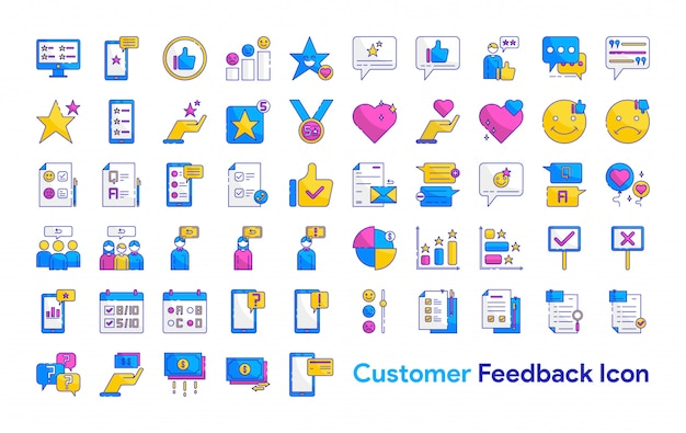 Customer feedback icon set