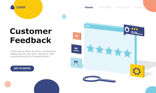 Customer feedback illustration concept landing page