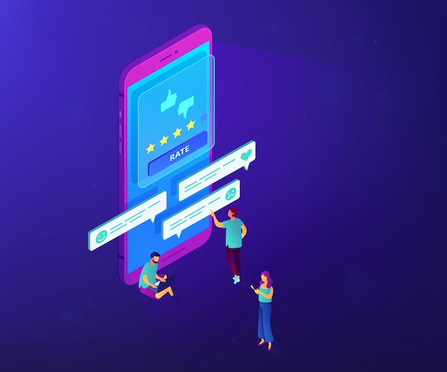 Customer feedback isometric 3d concept illustration.