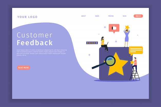 Customer feedback landing page for the site.