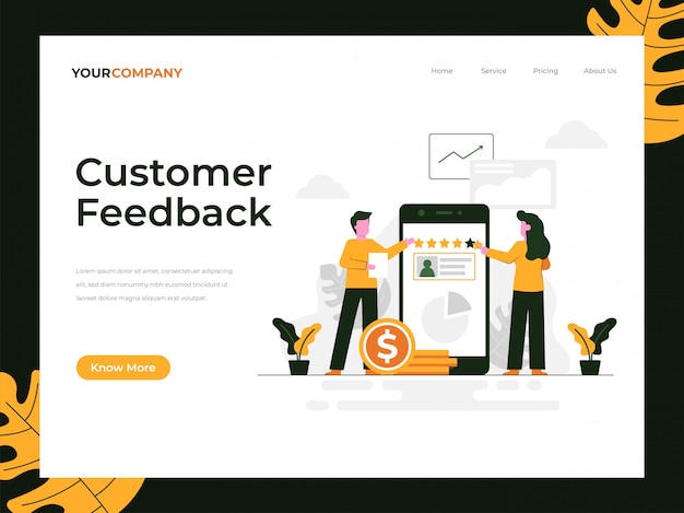 Customer feedback landing page