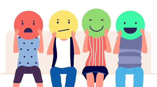 Customer feedback. people holding emoticons with different emotion. clients review, social media comment marketing vector concept. illustration feedback customer and review, social positive rating