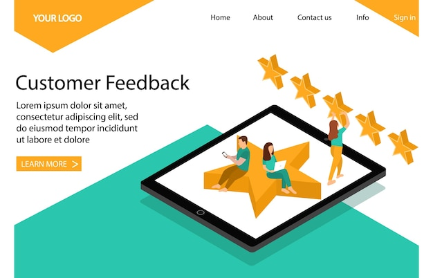 Customer feedback and review. landing page.