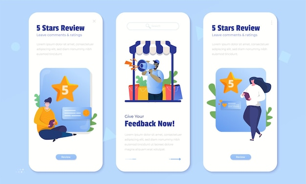 Customer feedback with give 5 stars rating concept