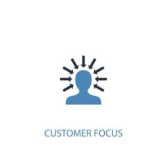 顧客重視のコンセプト2色のアイコン。シンプルな青い要素のイラスト。顧客重視のコンセプトシンボルデザイン。 webおよびモバイルui / uxに使用できます