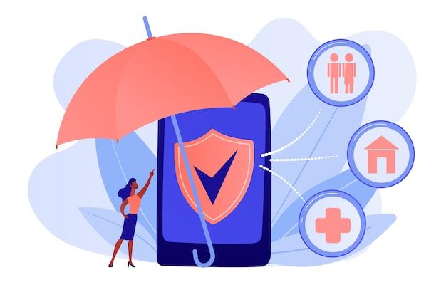 Страхование и защита клиента с помощью смартфона. страхование по требованию, онлайн-полис, индивидуальная концепция страхового обслуживания. розовый коралловый синий вектор изолированных иллюстрация