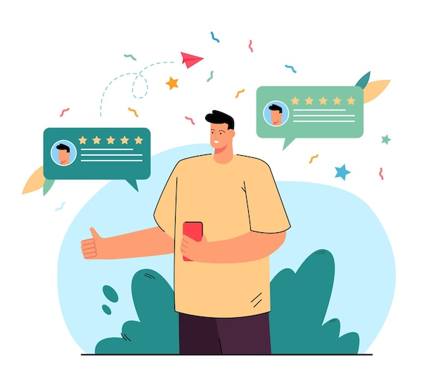 オンラインで正のフィードバックとレビューを提供する顧客。フラットなイラストをお勧めするスマートフォンを持つクライアント