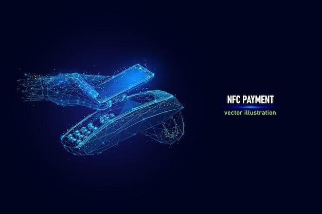 電話でのnfcテクノロジーを使用した顧客の手払い、接続されたドットで作られた非接触型決済デジタルワイヤーフレーム。青の背景にnfc近距離無線通信の低ポリベクトル図。