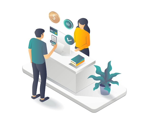 Customer is paying with smartphone in isometric illustration