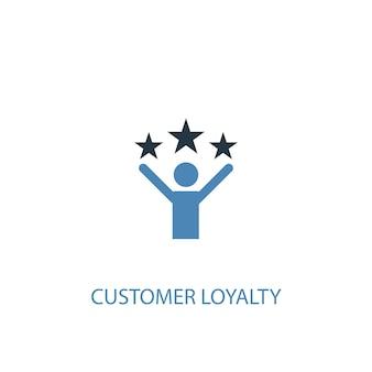 顧客の忠誠の概念2色のアイコン。シンプルな青い要素のイラスト。顧客の忠誠の概念のシンボルデザイン。 webおよびモバイルui / uxに使用できます