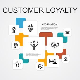 Шаблон иконы 10 линии infographic лояльности клиентов. награда, обратная связь, удовлетворение, качественные простые иконки