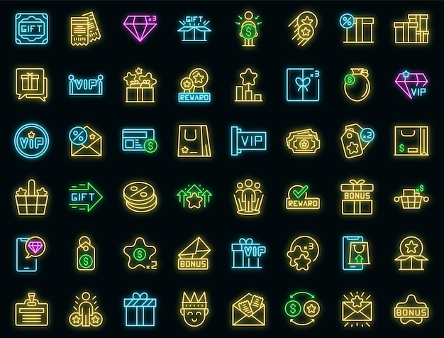Customer loyalty program icons set vector neon