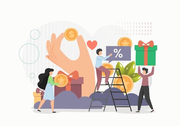고객 충성도 프로그램, 온라인 보상 개념 평면 그림