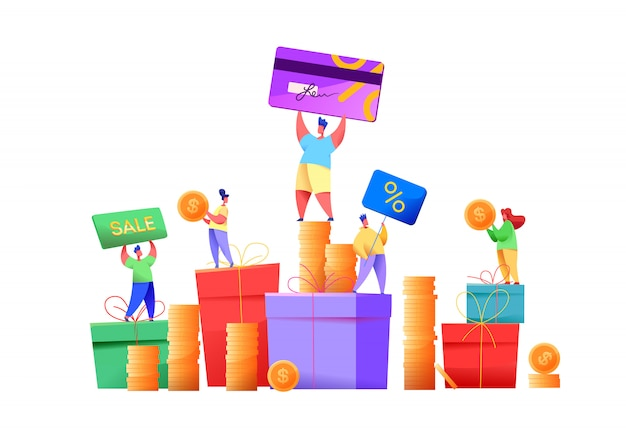 Customer loyalty program for retail business and e-commerce. happy people holding coins, bonus cards, cashback and discounts at background of present box. consumer management service concept.