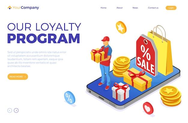 Программы лояльности клиентов как часть маркетинга возврата клиентов. подарочная коробка, возврат, проценты, баллы, бонусы. онлайн-поддержка на смартфоне дарит подарки на бонусы от изометрической программы лояльности