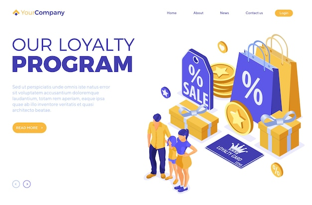 Customer loyalty programs landing page template. family and child with gifts for bonuses from loyalty program as part of customer return marketing. gift box, points, bonuses. isometric vector