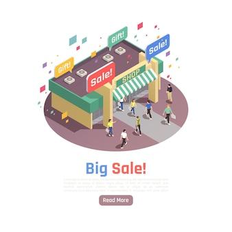 판매 표지판과 사람들이있는 상점 건물의 둥근 이미지가있는 고객 충성도 유지 아이소 메트릭 구성