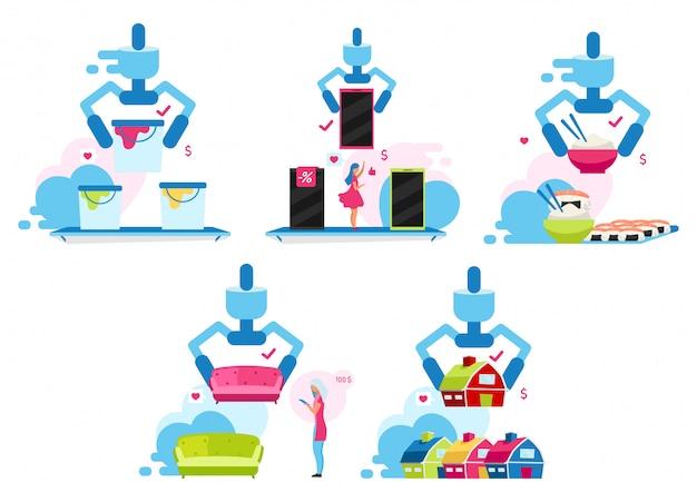 顧客作成の選択イラストセット。家電店で商品を選ぶ消費者、家具のオンライン配信の漫画のキャラクター。不動産サービス、レストランメニュー