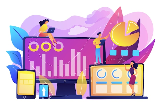 Customer managers working with customers pie charts and devices. customer segmentation, internet marketing tool, target audience collection concept. bright vibrant violet  isolated illustration