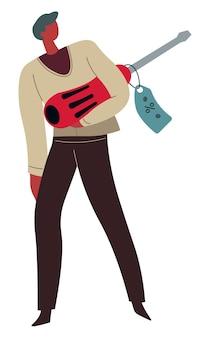 도구 가게의 고객, 가격표가 있는 천공기를 들고 있는 남성 캐릭터. 할인된 드릴링 머신을 가진 남자. 수리공과 건축업자를 위해 상점에서 악기를 사는 인물, 평평한 벡터