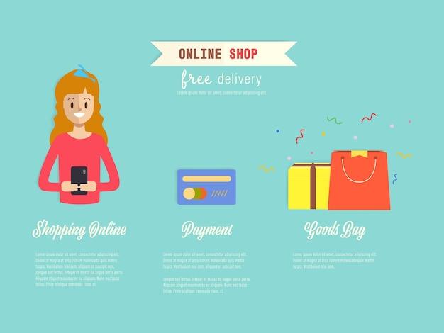 Customer online shopping infographics.