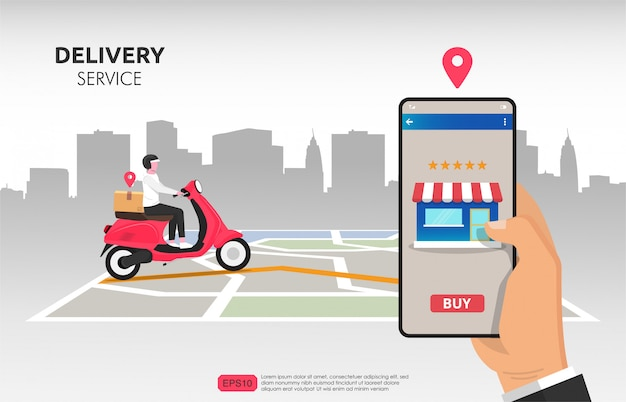Customer ordering from smartphone and delivered by courier with his scooter.