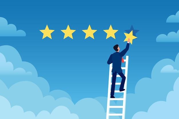 고객 평가. 사업가는 사다리에 서서 별 5개, 고객 피드백을 제공합니다. 긍정적인 검토 평가 시스템 벡터 개념입니다. 사업가 성공 검토, 평가 서비스 고객 그림