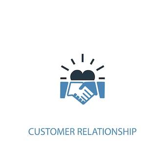 Концепция взаимоотношений с клиентами 2 цветной значок. простой синий элемент иллюстрации. дизайн символа концепции взаимоотношений с клиентами. может использоваться для веб- и мобильных ui / ux